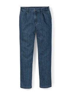 Bundfalten-Tiefbund-Jeans T400 Dunkelblau Detail 1