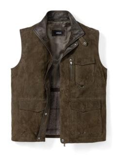 Ziegenvelours-Taschenweste Khaki Detail 1