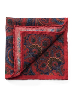 Paisley-Woll-Einstecktuch Rot Detail 1