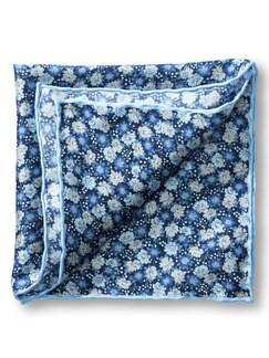 Seideneinstecktuch Blume Blau Detail 1