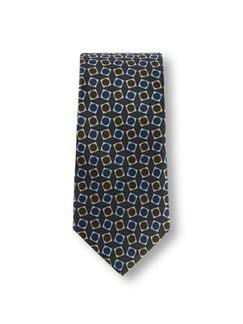 Geometrie-Krawatte Schwarz/Beige Detail 1