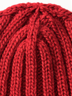 Strickmütze Rot Detail 2