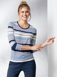Freizeit Streifenshirt Grau/Blau Detail 1