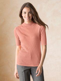 Seiden-Stehbund-Pullover Halbarm