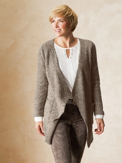 Strickjacke Soft Boucle Beige Melange Detail 1