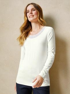 Shirt Spitzenausschnitt Offwhite Detail 1