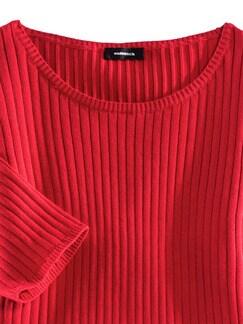 Strickshirt Pima-Cotton Uni Rot Detail 3