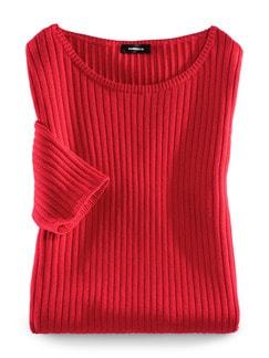 Strickshirt Pima-Cotton Uni Rot Detail 2