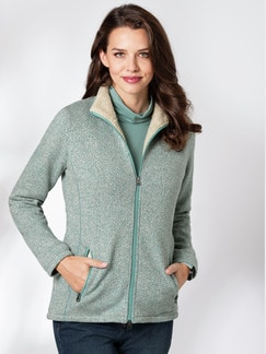 Thermo Strickfleece-Jacke Mint/Beige Detail 1