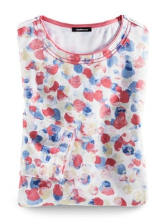 Shirt Aquarelltupfen Blau/Koralle Detail 3