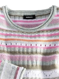 Baumwollpullover Ajour Pink/Khaki/Orange Detail 3