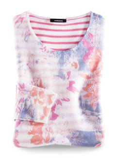 Leicht-Pullover Blumenringel Pink Multicolor Detail 3