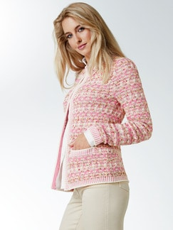 Strickjacke Tweed Effekt Pink/Weiß Detail 1