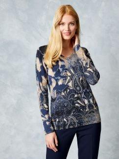 Feinstrickpullover Paisley Camel/Blau Detail 1