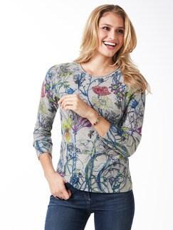 Cashmere Leicht-Pullover Blumen Grau Detail 1