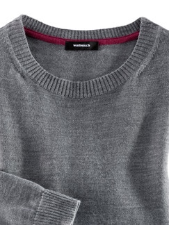 Merino-Mix Rundhals Pullover Grau Melange Detail 3