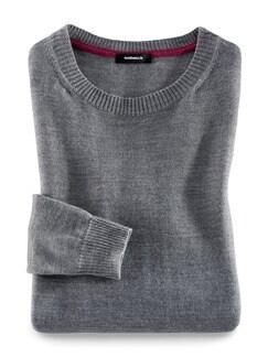Merino-Mix Rundhals Pullover Grau Melange Detail 2