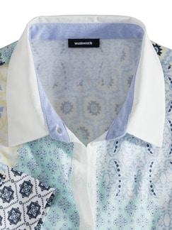 Pima Cotton Polo Kachelprint Mint Detail 3