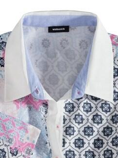 Pima Cotton Polo Kachelprint Pink Detail 3