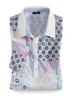 Pima Cotton Polo Kachelprint Pink Detail 2