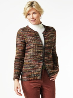 Alpaka Strickjacke - Soft Boucle Rost Detail 1