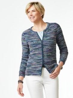 Alpaka Strickjacke - Soft Boucle Blau Detail 1