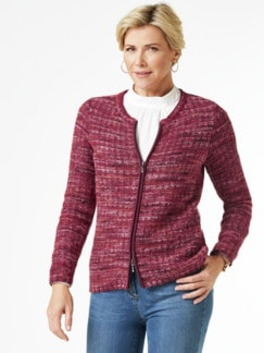 Alpaka Strickjacke - Soft Boucle Pink Detail 1
