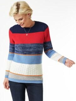 Streifen Struktur-Mix Pullover grau/Blau/Rot Detail 1