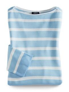 Streifen Sweatshirt 2 in 1 Skyblue/Weiß Detail 2