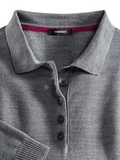 Merino-Mix Polo-Pullover Grau Melange Detail 3