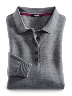 Merino-Mix Polo-Pullover Grau Melange Detail 2