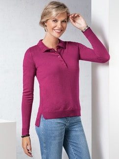 Merino-Mix Polo-Pullover Himbeere Detail 1