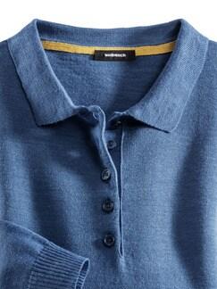 Merino-Mix Polo-Pullover Jeansblau Detail 4