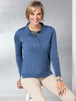 Merino-Mix Polo-Pullover Jeansblau Detail 1