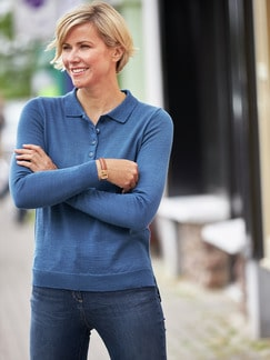 Merino-Mix Polo-Pullover Jeansblau Detail 2