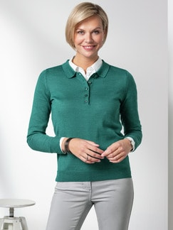 Merino-Mix Polo-Pullover Jadegrün Detail 1