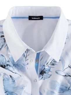 Poloshirt Hibiskusblüte Blau Detail 3
