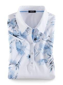 Poloshirt Hibiskusblüte Blau Detail 2