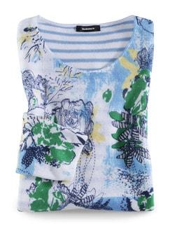 Leicht-Pullover Blumenringel Marine Multicolor Detail 2