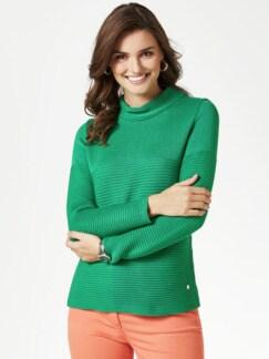 Kaminkragen Pullover Querrippe Grasgrün Detail 1
