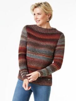 Grobstrick-Pullover Farbverlauf Zimt Detail 1