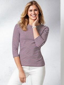 Streifenshirt Tricolore Marine/Rot/Weiß Detail 1
