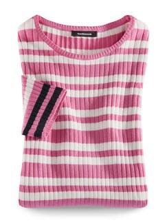 Strickshirt Pima-Cotton Streifen Pink/Blau Detail 2