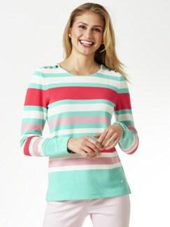 Struktur-Sweatshirt Mint gestreift Detail 1