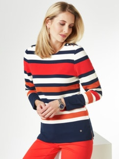Struktur-Sweatshirt Streifen Marine Detail 1