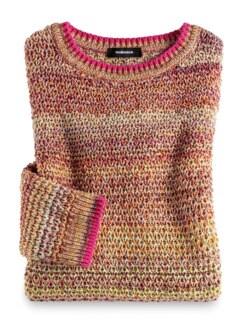 Multicolor-Pullover Wabenstrick Pink gemustert Detail 2