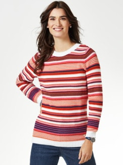 Struktur-Pullover Multiringel Marine/Orange Detail 1