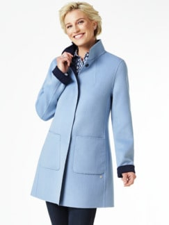 Double Face Wolljacke Hellblau/Marine Detail 1