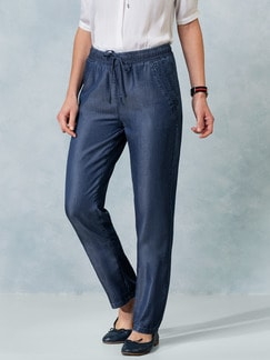 Tencel Hose Malecon Jeansblau Detail 1