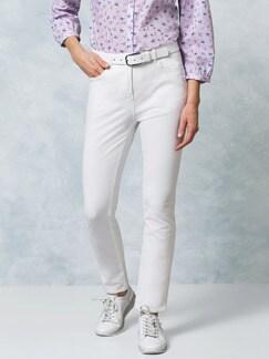 Passform Baumwollhose Slim Fit Weiß Detail 1